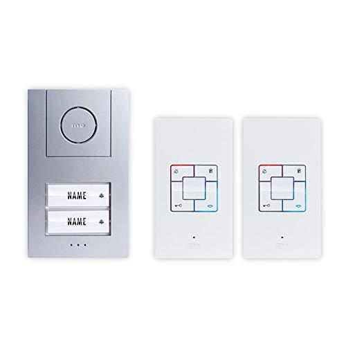 Türsprechanlage Kabelgebunden Komplett-Set m-e modern-electronics Vistus AD 4020 2 Familienhaus Sil