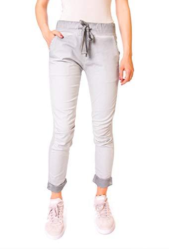 Easy Young Fashion Damen Hose Knöchel Jogpants Vintage Jogger Jeggings Sweat & Stoff Pants Hellgrau XS 34 (S)