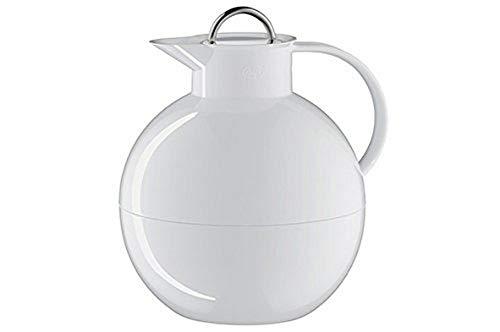 alfi Kugel, Thermoskanne Kunststoff weiß 0,94l mit alfiDur Vakuum-Hartglaseinsatz und Edelstahlverschluss, Isolierkanne hält 12 Stunden heiß, ideal als Kaffeekanne oder als Teekanne - 0105.011.094