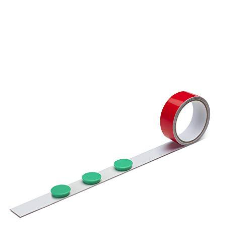 Stahlblech Magnet-Wandleiste als Haftgrund für Magnete I 1 Meter Magnetleiste inkl. 3 Rundmagnete - grün I selbstklebend, zuschneidbar I mag_139