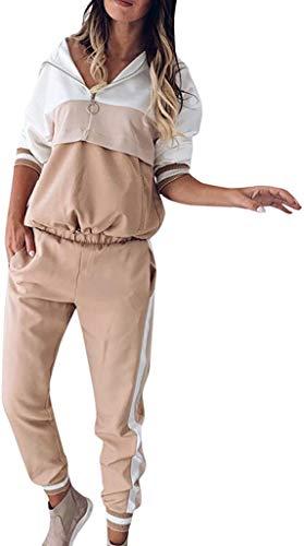 NTNY3 Donna Tuta da Ginnastica Tute Sportive Complete Felpa Ragazza con Cappuccio Pantaloni Jogging Running Hoodie Sports Sweatshirt Leggera Pantalone (2XL, Cachi)