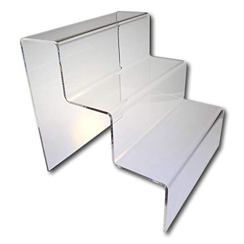 EPOSGEAR Three (3) Step Tier Clear or Coloured Acrylic Plastic Retail Riser Counter Display Plinth Stands - Display products on 4 levels - Perfect for Shops, Stalls, Ornaments, Models etc (Clear, Large)