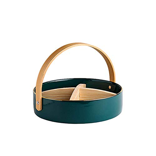 LGYKUMEG Immersion/Snack Bowl, Four-Wheeled Bamboo Plate, Very Suitable for Home, Kitchen, Office, Bedroom, Bathroom,Green,5.722.5cm
