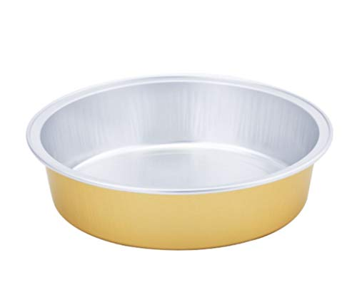 KEISEN 4 2/3' 8oz 24/PK Disposable Aluminum Foil Cups 215ml for Muffin Cupcake Baking Bake Utility Ramekin Cup (Gold)