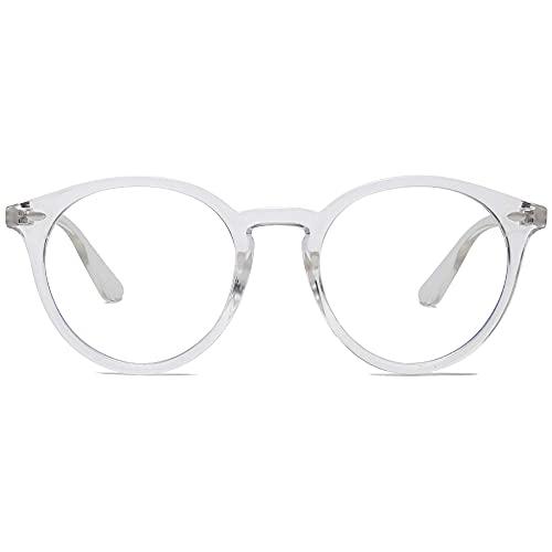 SOJOS Occhiali Anti Luce Blu Rotondi Grandi Vintage Montatura da Occhiali Computer SJ2069 con Trasparente Telaio/ Lente Anti-blu