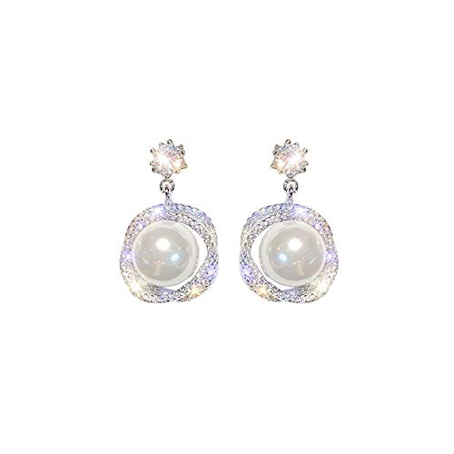 Korea prachtige eenvoudige en genereuze diamanten kruis ketting parel oorbellen sexy dames wilde oorbellen vrouwen