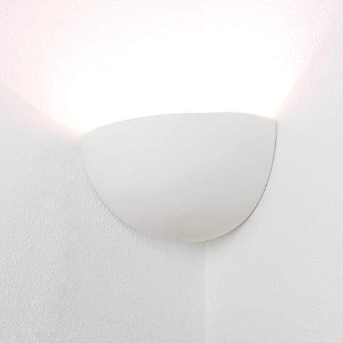 Zeitlose Wandleuchte Weiß E14 bis 60 Watt 230V Eckenleuchte aus Gips Wohnzimmer Flur Schlafzimmer Ecklampe Lampe Leuchte Beleuchtung