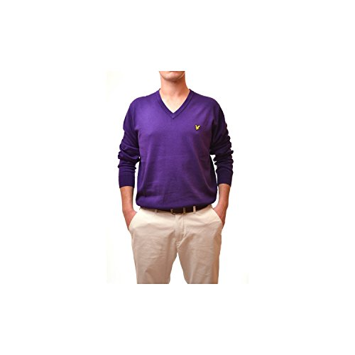 Pull Lyle and Scott Violet col v pour Homme