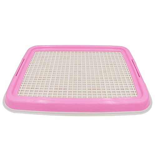 MxZas Hundetraining Bodenschutzschalen Hunde-Töpfchen-Tablett/Welpen-Pee-Pad-Halter Mesh Training Tray Wee Training für kleine und mittlere Hunde (Color : Pink, Size : 48x36cm)
