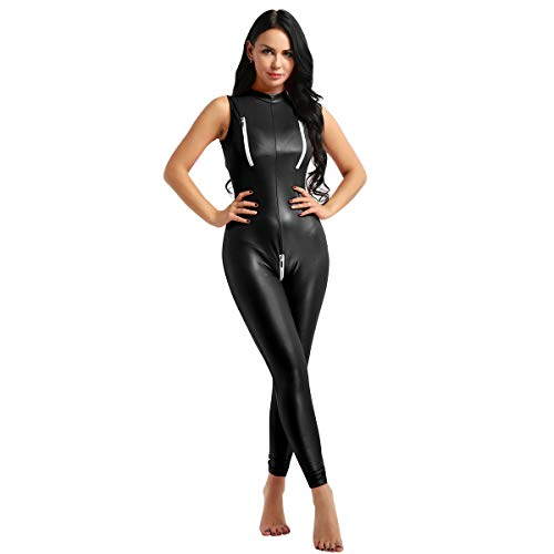 ACSUSS Women's Sexy PU Leather Sleeveless Double Zipper Bust Crotchless Jumpsuit Catsuit Black Medium