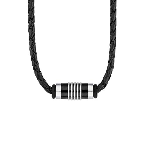 s.Oliver Men Stainless Steel Necklace 2012595 Black/Silver One Size