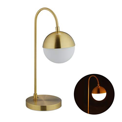 Relaxdays tafellamp bol, modern, E14, woonkamer & slaapkamer, bedlampje metaal, glas, HBT 50x29x18cm, goud