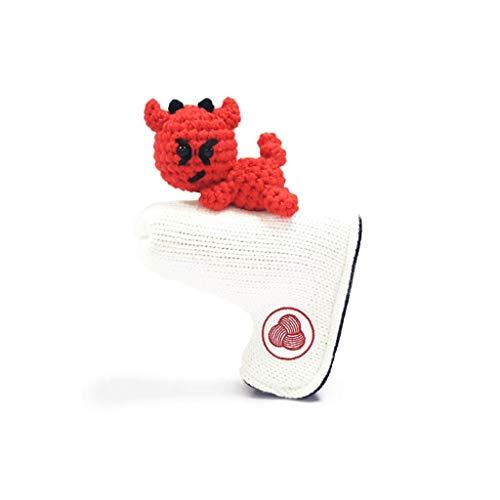 SJJOZZ Club de Golf de la Cubierta Linda pequeño Diablo de Punto Golf Putter Protector Protege el Club de procedencia de Lesiones de Tipo L multifunción a Prueba de Polvo Rojo (Color : White)