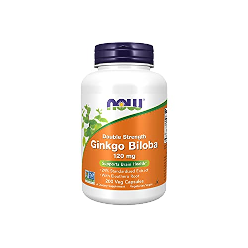 NOW Supplements, Ginkgo Biloba 120 mg, Double Strength, Non-GMO Project Verified, 200 Veg Capsules