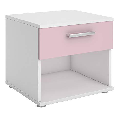CARO-Möbel Nachttisch Mary Nachtschrank Nachtkommode weiß/rosa, 42 x 38 x 30 cm, mit Schublade und offenem Fach