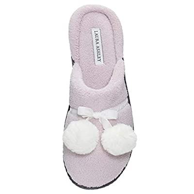 Laura Ashley Ladies Terry Cushioned Open Back Slippers with Pompoms (See More Colors and Sizes)