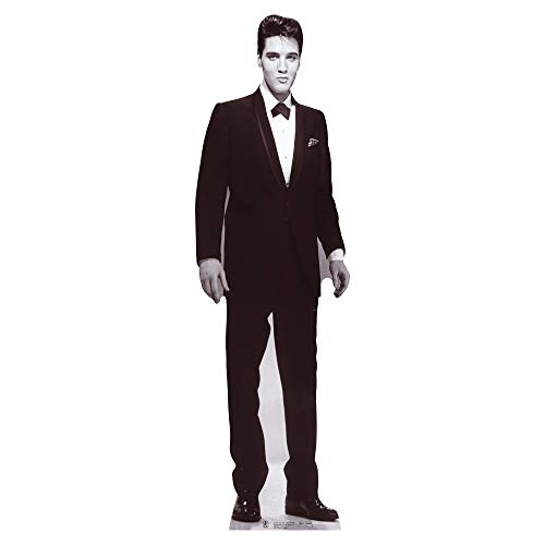 Star Cutouts, Elvis Presley (Black and White Tuxedo), Cardboard Cutout Stand-Up, Celebrity Life-Size Stand-In - 70' x 21'