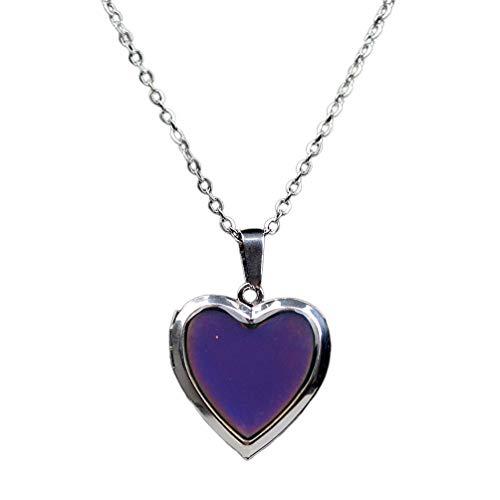 Amosfun Collar de Humor Amor Corazón Cambiar Color Sentimiento Emocional Colgante para Niñas Joyería del Día de San Valentín (Color Aleatorio)