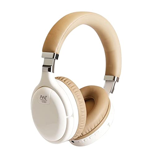 SeniorMar-UK Auriculares con cancelación Activa de Ruido Auriculares de Casco con Adaptador de TV USB 3.5 Auriculares inalámbricos de Graves Profundos Blanco