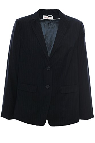 sheego Blazer Gehrock Jacke Damen Ndelstreifen Viskose Wolle Plusgröße Übergröße, Farbe:dunkelblau;Damengrößen:42