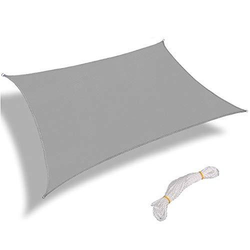 Warooma Sonnensegel, 2,4 m x 2,4 m, mit Seil, rechteckig, Sand, UV-beständig, für gewerbliche Anwendungen, wasserfest, für Außenanlagen und Aktivitäten