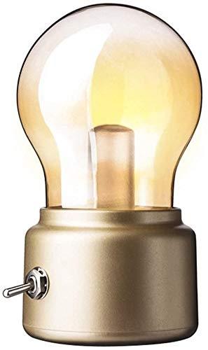 Dkdnjsk Retro USB Noche Luz portátil LED Vintage Luz de luz Recargable Luz de Noche USB Lámpara de Escritorio de Carga para el hogar Tabla de Mesa (Oro) Lámpara de Mesa de la Mesa