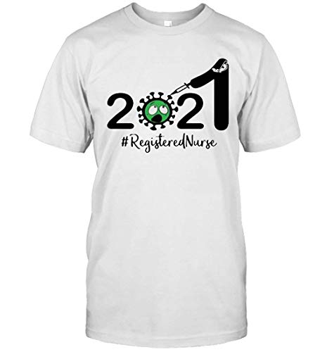 Basic T-Shirts, 2021 Co.ro.na.Virus Registered Nurse, Tank Top, Hoodie, Long Sleeve, Sweatshirt, Crew Neck Short Sleeve Gifts