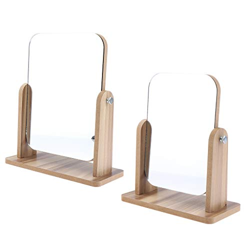 Sharplace 2x Miroirs Compacts De Maquillage De Table Avec Base De Voyage En Bois