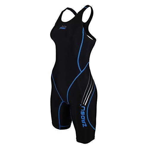 ZAOSU Wettkampf-Schwimmanzug Z-Black - Badeanzug für Mädchen und Damen, Farbe:schwarz/blau, Größe:38