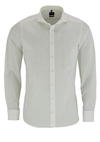 OLYMP Level Five Body fit Hemd Langarm ohne Manschettenknopf beige Größe 42