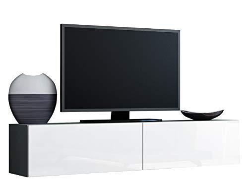 Mirjan24 TV Schrank Vigo, Fernsehschrank, TV Lowboard mit Grifflose Öffnen, Hängeschrank Hochglanz Matt Wohnwand (Länge: 140 cm, Grau/Weiß Hochglanz)