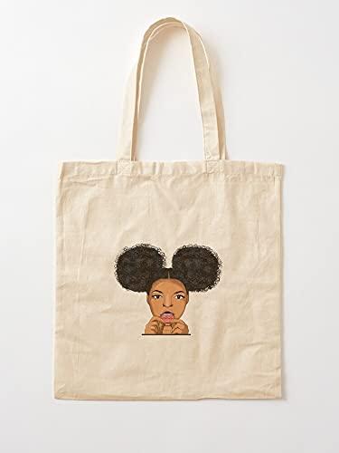 Generic Afro Woman Puff Hair Black Art Cool Girl Lady African   Einkaufstaschen aus Leinen mit Griffen Einkaufstaschen aus nachhaltiger Baumwolle
