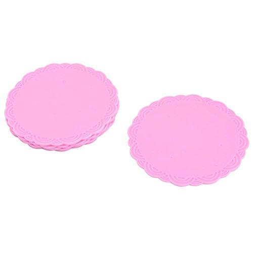 sourcingmap Vacances ronde en silicone résistant à chaleur antidérapant Théière Tasse Mat Coaster 6 pcs Pink