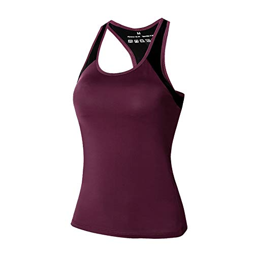 Yoga Fitness Tops Running Sports Femme Nylon Séchage Rapide Stretch Slim Slim Gilet Yoga Vêtements - Rouge - M