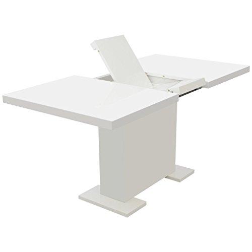 Festnight High Gloss White Extending Dining Table for Home Kitchen 120/160 x 70 x 76.5 cm