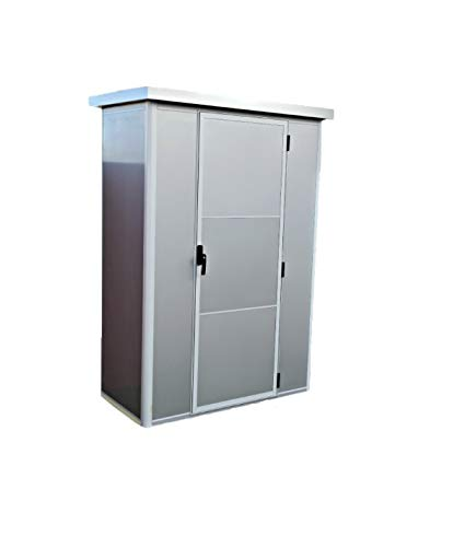 Armario metálico Exterior con Aislamiento térmico Color Gris Metalizado diseño Moderno con Cerradura y estanco 1.35 x 0.72 MTS