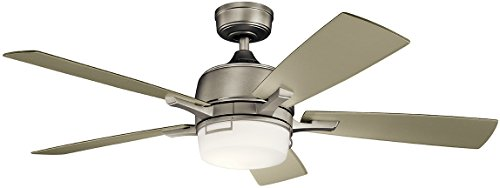 Kichler 300457NI Leeds 52' Ceiling Fan with LED Light & Wall Control, Brushed Nickel