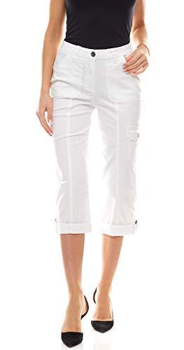 Boysen´S Hose Sommer-Hose Moderne Damen 7/8-Hose Business-Hose Freizeit-Hose mit Zip-Fly-Verschluss Weiß, Größe:34
