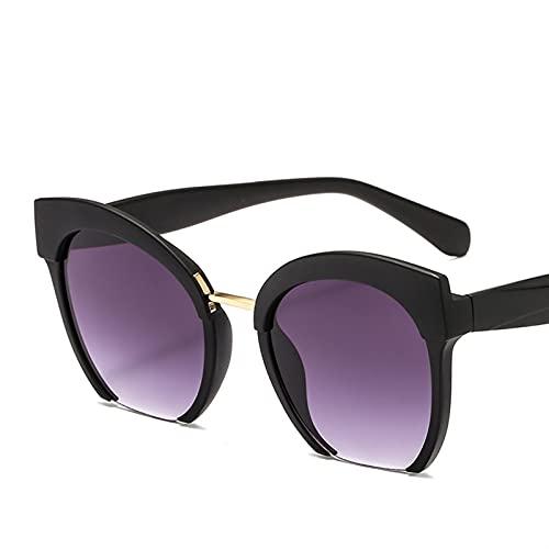 FDNFG Gafas de Sol de la Mitad del Marco de la Mitad del Marco de Color de Moda Gafas de Sol de Las Mujeres Eyeglasses Beat Beat Shopping UV400 Gafas de Sol (Lenses Color : Matt Black)