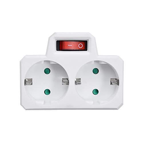 paomo Regleta de 2 enchufes con interruptor de protección de 16 A, protección múltiple, 3680 W, material ABS ignífugo