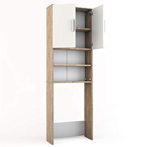 *Vicco Waschmaschinenschrank 190 x 64 cm – Badregal Hochschrank Waschmaschine Bad Schrank Badezimmerschrank Überbau (Weiß) (Weiß, Sonoma Eiche)*