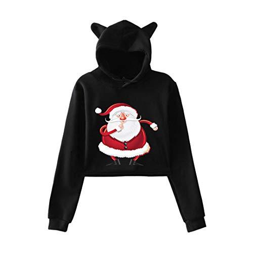 Christmas Hoodies for Girls Cat Ears Cropped Hoodies Autumn Hoodi Sweatshirt Black D S