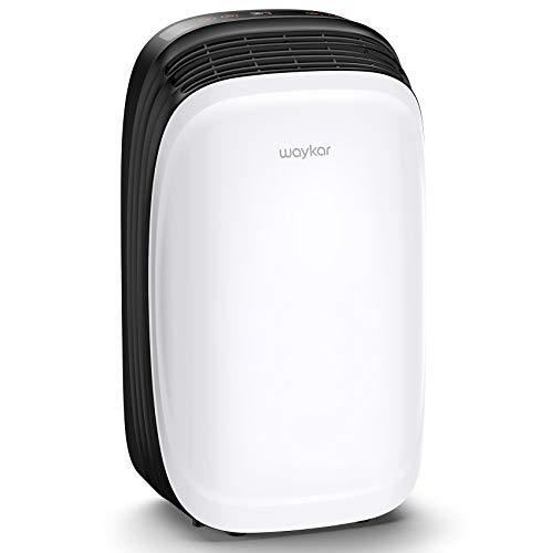 Waykar Dehumidifier for 1500 Sq. Ft Home, Basement, with Continuous Drain Hose, Reusable Air Filter