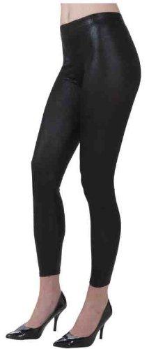 Forum Novelties 1980's Costume Shiny Black Stretch Leggings - Standard
