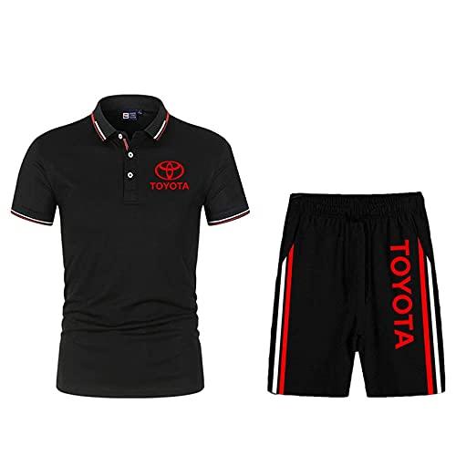 DSechcrsL Camiseta De Verano para Hombre Polo To.Yo-Ta Print Polo Camisas De Dos Piezas Camiseta Pantalones Cortos Chándal Informal De Manga Corta para Hombres Y Mujeres,Negro,M/Medium