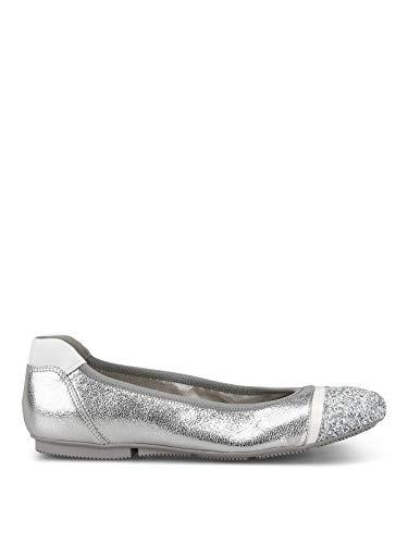 Luxury Fashion | Hogan Dames HXW14407124KHS0906 Zilver Leer Ballerina's | Seizoen Outlet