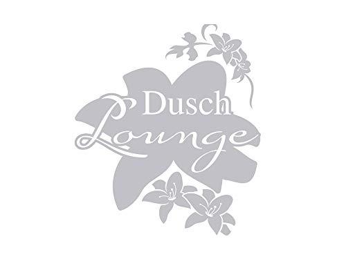 GRAZDesign Fenstertattoo Schriftzug Dusch Lounge mit Blumen, Fensterfolie für Badezimmer, Glastattoo für Dusche / 66x57cm
