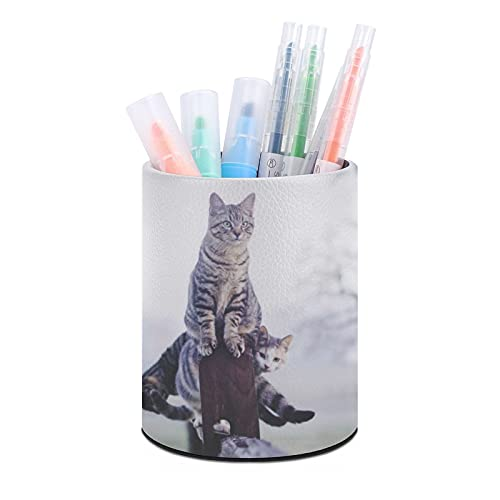 Portabolígrafos Cat1 con diseño de animal, organizador de escritorio, taza de bolígrafo, organizadores de escritorio de oficina y accesorios, regalo ideal para el aula y el hogar