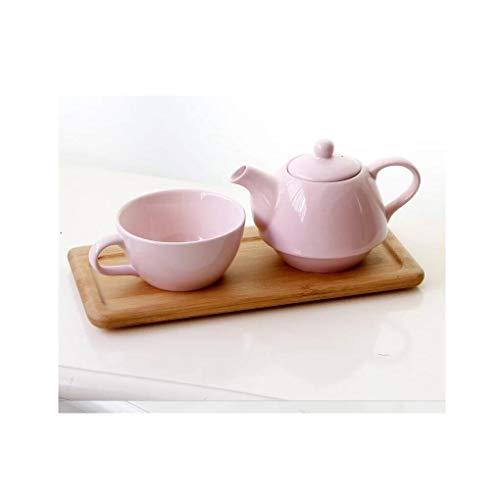 HQQ Juego de té de la Tarde Taza de café Hueso China Creativo Europeo Rosa Única Oficina en casa Accesorios de vajilla de Viaje para el hogar (Color : Teapot*1+Teacup*1+Tray*1)