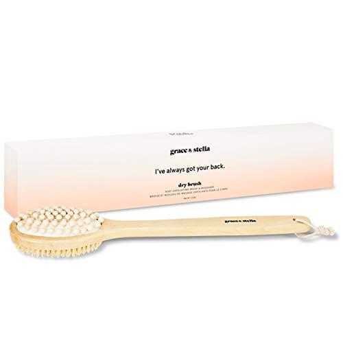Brosse de bain Grace & Stella - Vegan - Brosse sèche, pour brosser votre dos sous la douche afin d'exfolier votre peau, pour le traitement de la cellulite et également le massage lymphatique
